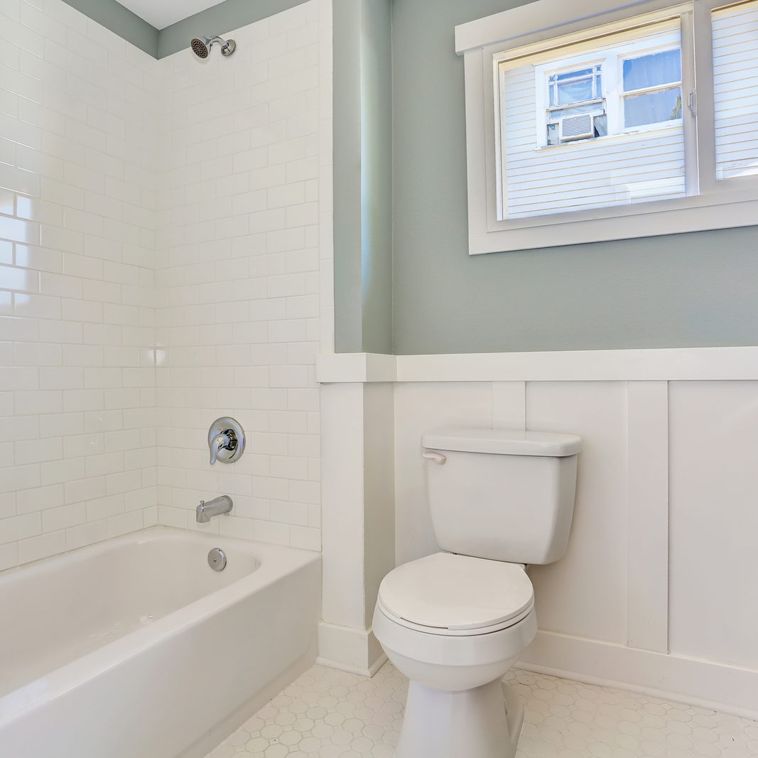 Blue bathroom interior with black vanity cabinet toilet and white bath tub. Northwest USA
